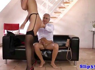 British Teen Pleasing Old Mans Cock 360