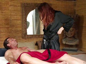 Redhead Masseuse Sucks And Rubs Cock 480